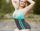 Charlotte Polka dot with Mint Ruffles One Piece Halter Swimsuit