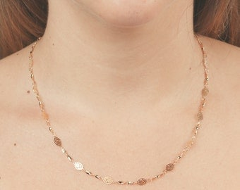 Gold Chain necklace simple everyday gold filled necklace dainty gold layered necklace vintage style jewelry.