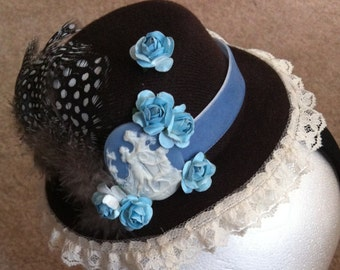 Brown and Blue Fascinator on a headband