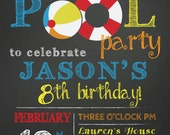 Birthday Pool party invitation pool party bash invite chalkboard summer pool party swimming