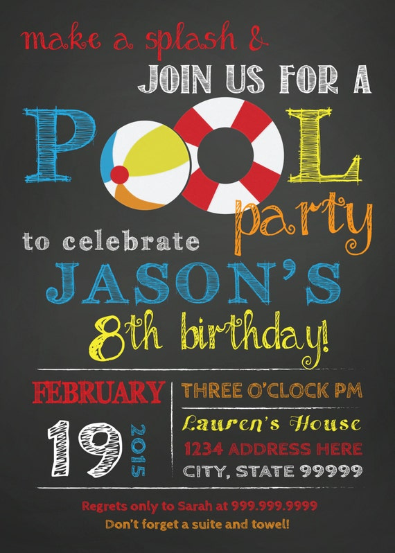 Items Similar To Birthday Pool Party Invitation Pool Party