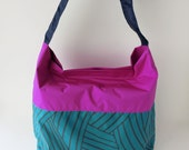 Water proof bag, cross body hobo purse, shoulder bag, hand painted,blue, color block, happy rainy day