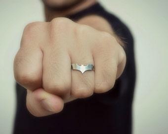 Batman Ring - 925 Sterling Silver Superhero Dc Marvel Batman Men Jewelry - Geeky Nerdy Batman Ring - Comic Geek gift