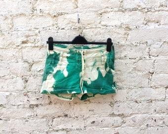 Green Denim Shorts Womens Denim Shorts Bleach Dye Jean Shorts Lace Up Hotpants to fit UK size 8 US size 4