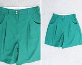 Plus Size - Vintage Dark Green High Waist Pleated Shorts (Size 16)