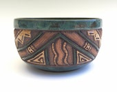 Carved Triangle Geometric Design Bowl - Stoneware - Blue, Green, Turquoise, Brown, Tan - Serving, Cereal, Salad - Unique, Original - 3 Cups