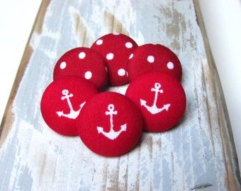 Fabric Buttons - 6 Mix Medium Buttons - Red Anchor Fabric Covered Buttons - Red Marine Sew buttons - Red Polka Dot Buttons - Anker Nautical