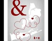 Romantic Valentines Day Gift: For Boyfriend Husband Girlfriend Wife Spouse Living Far Apart Long Distance Relationship Present Art Print