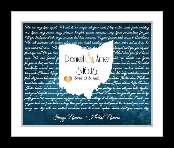 Anniversary song lyrics print map first wedding