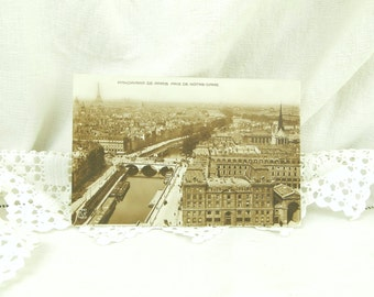 Antique Sepia Black and White French Postcard The Eiffel Tower, Panoramic view of Paris, River Seine Taken from Notre Dame / French Decor