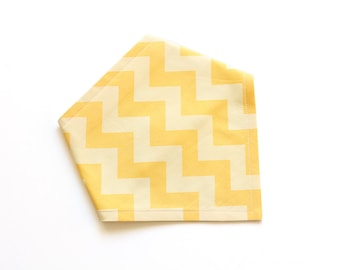 SALE || Adjustable Bandana Bib || Zig Zag Yellow on Yellow