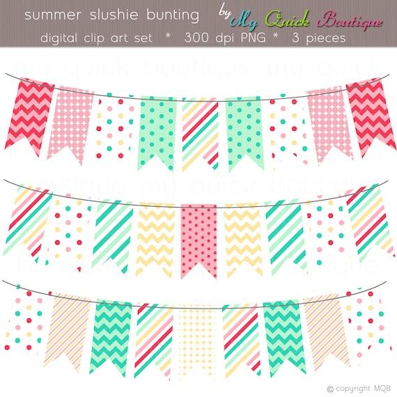 Digital Summer Slushie Flag Bunting - Personal & Commercial Use ...