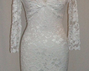 Baylis & Knight Pure White LACE Long Sleeve POLLY Twist Pencil Wiggle Knee Dress Burlesque Dita Pin Up Wedding