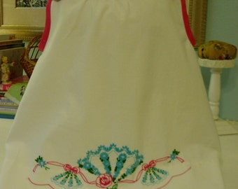 Vintage Pillowcase Top w/ Hand Embroidered Flowers, Girls size 5-6