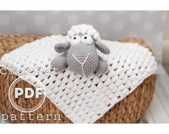PDF Lamb Security Blanket  crochet pattern lovey- Sleepy the Lambie