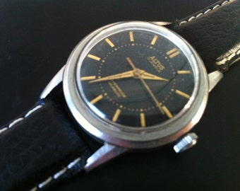 Glycine Altus Watch, Free Shipping, Manual Black Dial Swiss Watch, 17 Jewels, Antimagnetic, Stainless Steel, Vintage Mens Watch, Works Great