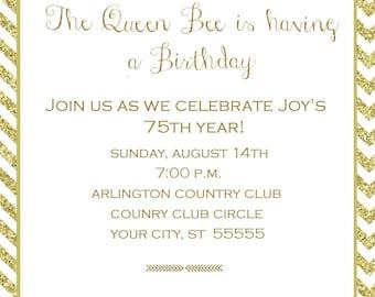Queen Bee Birthday Party Invitation