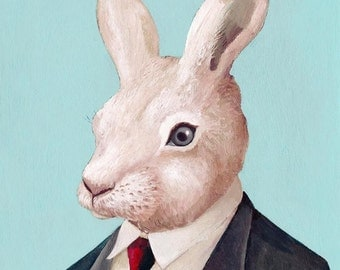 Rabbit Fine Art Print, Rabbit Illustration, Giclee Wall Art, White Rabbit, Animal Decor