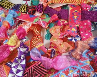 Neon Hair Ties, Gift for Girls, Teen Girls - 10pc/20pc Grab Bag, Neon Prints - No Crease Hair Tie, Hair Bands, Summer, Girls Sports, SALE