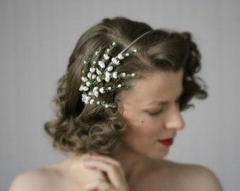 """White Hair Accessory, Bridal Flower Headpiece, 1950s Headband, Floral Hairpiece, Wedding Hair Piece Bride - """"Heather Fields Aflower"""""""