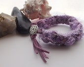 Lavender Sari Silk Ribbon and Leather Kumihimo Braided Bracelet, Cuff Bracelet, Bohemian Bracelet, Hippie Bracelet, For Spring, Summer