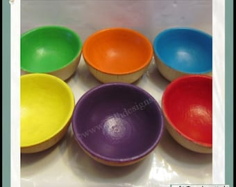Rainbow Coloured Wood Bowls for Sorting Set made in Canada
