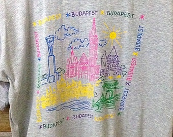 "1980's vintage ""Budapest"" colorful tee shirt"