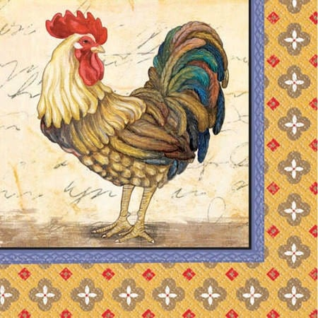 3 Rooster Paper Napkins For Crafts Rooster Chicken Decoupage