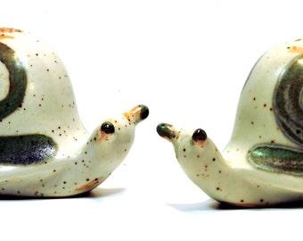 Snail Salt Pepper Set Vintage mid Century Modern Escargot Set