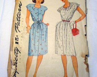 1940s Button Front House Casual Day Cap Sleeves dress Sundress sewing pattern Simplicity 1380 Size 14 Bust 32""