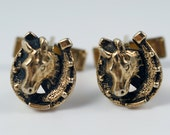 Horse Cufflinks, Horse Cuff Links, Vintage Blackened Gold Tone Equestrian Horse Head Horse Shoe Cameo 3D Cufflinks