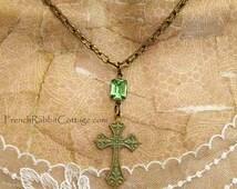 CROSS NECKLACE Women. VERDIGRIS Patina Jewelry. Vintage Peridot Rhinestone. Cross Pendant Necklace Christian Religious Jewelry. Fleur de Lis