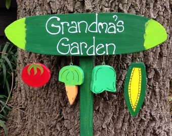 Grandmother garden stake sign with personalized grandchildren