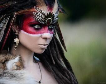 Resin cast partridge skull earrings