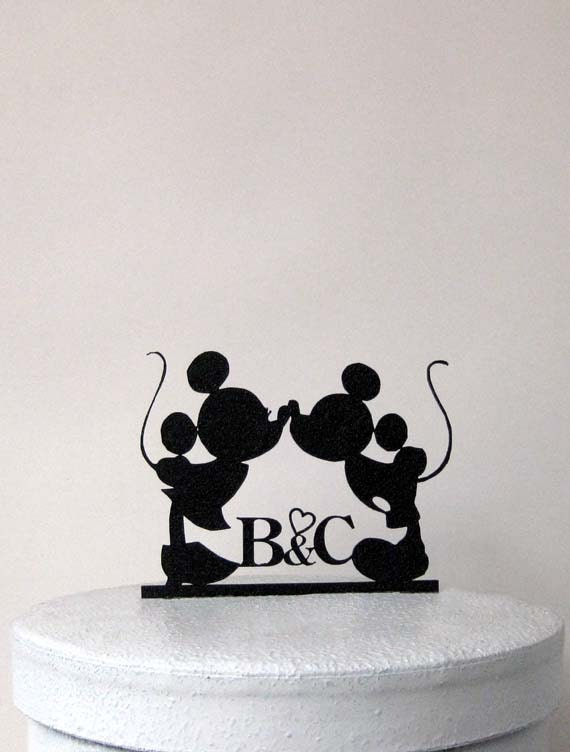 mickey and minnie silhouette wedding cake topper personalize wedding cake topper mickey and minnie silhouette 17345