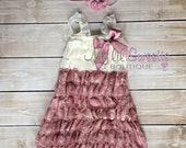 2pc Ivory dusty rose dress and hair piece, baby girl outfit, infant outfit, photo prop, special occasion dress, toddler dress, girls dress,