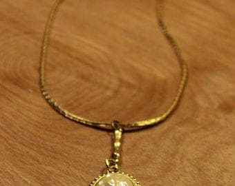 Gold Necklace w / White Stone Center, item #152