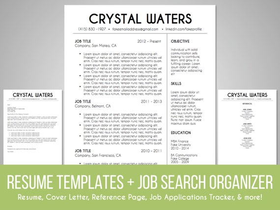 resume template and search organizer set by