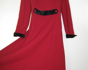 LAURA ASHLEY Vintage Red Riding Coat with Black Velvet Trims,Victorian / Edwardian Style, 7 Years