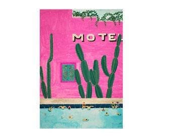 Art Print of original Watercolor painting - 'Motel Pool'
