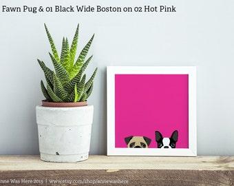 Boston Terrier and Pug Art Print, Boston Terrier Art Print, Boston Terrier Art Print, Pug Art Print, Pug Wall Art, Boston Terrier Wall Art