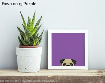 Pug Art Print, Peeking Pug Print, Animal Art Print, Pug Peeking Art Print, Dog Art Print, Dog Illustration, Pug Wall Art, Pug Illustration