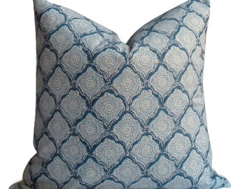 "Kravet Indigo Kashmira Pillow Cover - 20"" x 20"" - SAME Fabric BOTH Sides - Invisible Zipper -  pillow case"