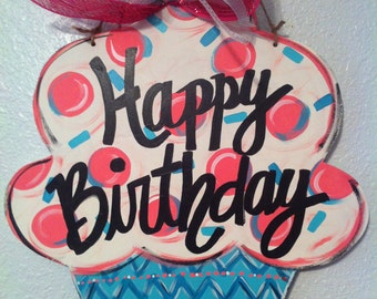 Birthday Cupcake Door Hanger