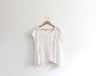 Oversized White Beach Mesh Top