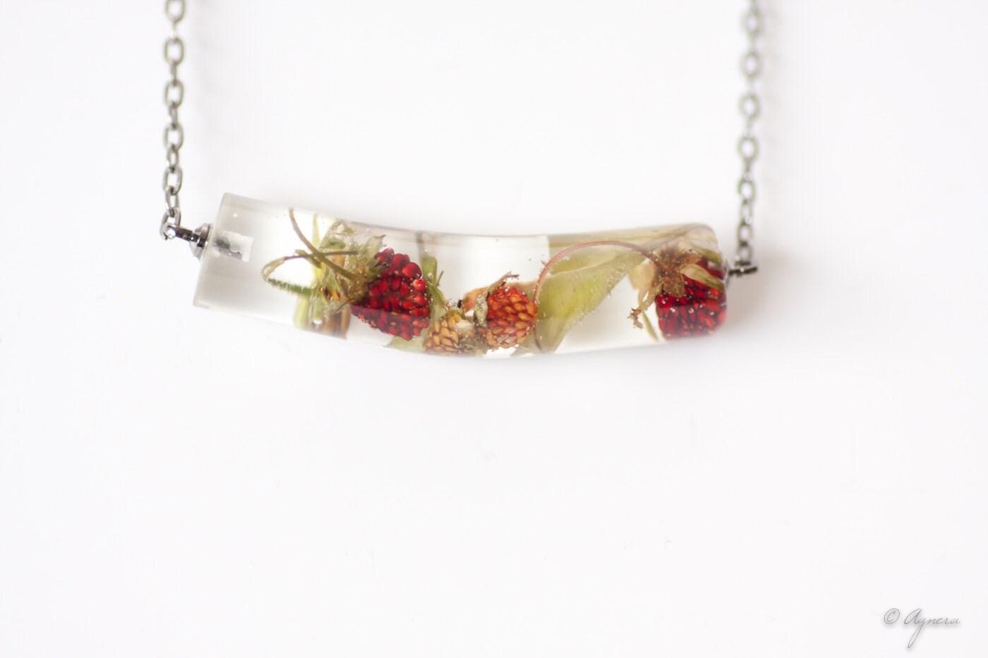 strawberry necklace strawberry terrarium jewelry