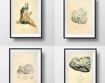 Antique Minerals Art Print Set of 4 Crystal Print 11x14 Gems Gemstones Illustrations Mineral Print Science Geology Vintage Science Chart