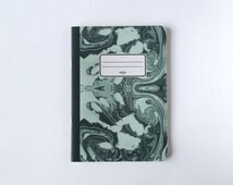 Green Marbled Notebook - Green Marbled Journal - Sketchbook - Blank pages - Lined pages