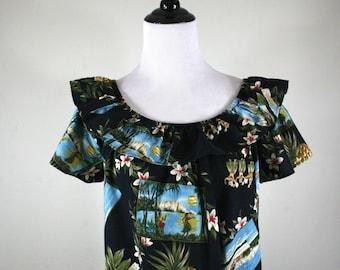 Vintage Hilo Hatties Aloha Dress Hawaiian Scenes Hula Girls