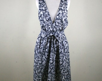 Vintage Summer Cotton Black and White Hand Made Dress with Belt